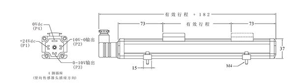 外置磁致伸缩位移传感器安装示意图